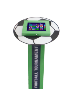 Zielony stojak na tablet Tabkiosk stand promotion v2 z panelem i kołnierzem reklamowym